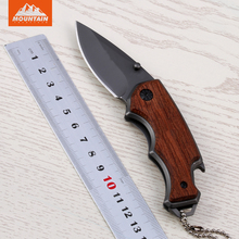 Mountain Folding Tactical Knife 5Cr13 Blade Titanium Surface Tactical Hunting Knife Outdoor Survival Tool Knife With Wood Handle