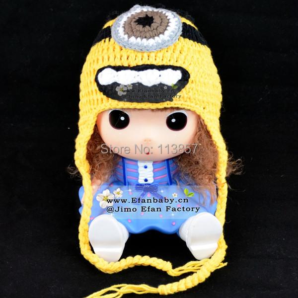 Childs Minion Hat Knitting Pattern : 2015 best selling winter crochet minion baby knitted hats patterns cartoon ch...
