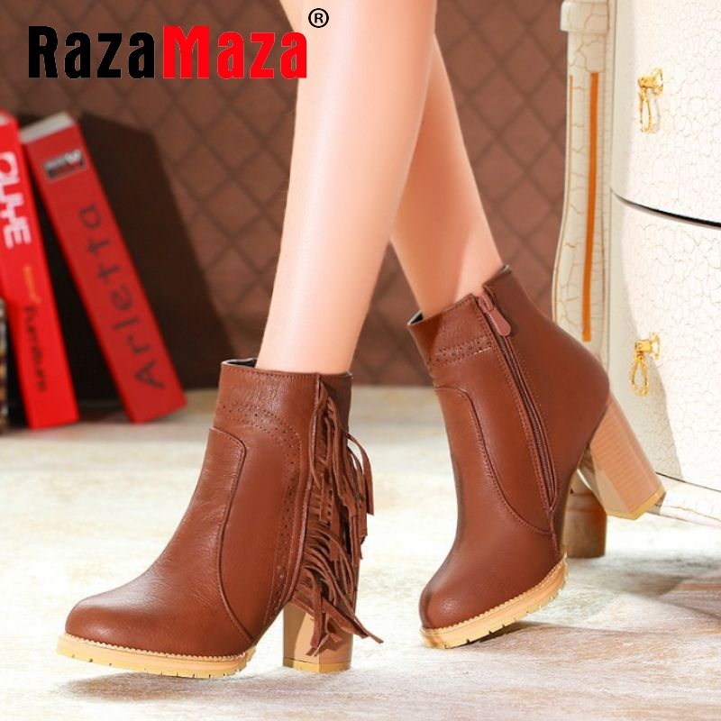 size 30-47 women square high heel half short boots tassel autumn winter warm boot lady brand quality heels footwear shoes P21482(China (Mainland))