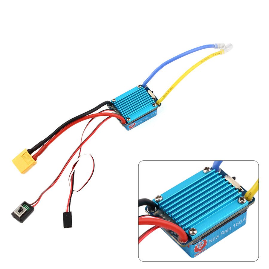 Waterproof Brushed ESC 160A 3S with 5V 1A BEC XT60 Plug For 1/12 RC Car Free shipping<br><br>Aliexpress