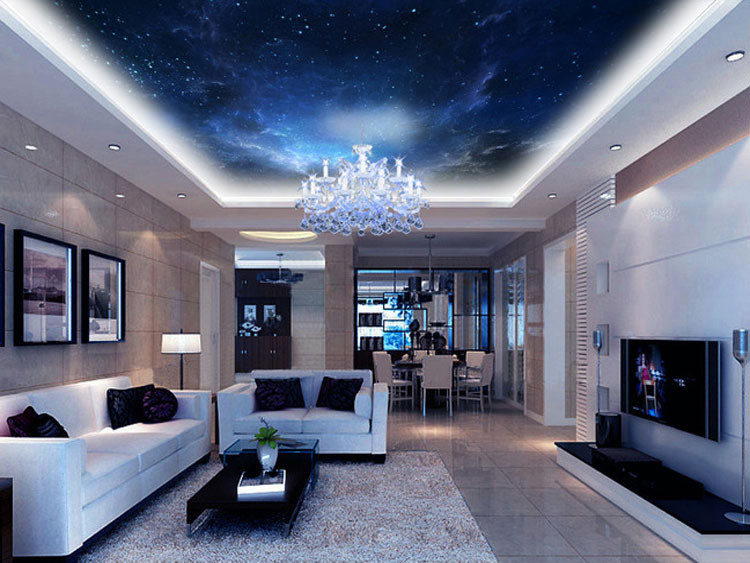 Custom size blue-night space nebulae image print ceiling wallpaper mural for living room bedroom home n office ceiling decals(China (Mainland))