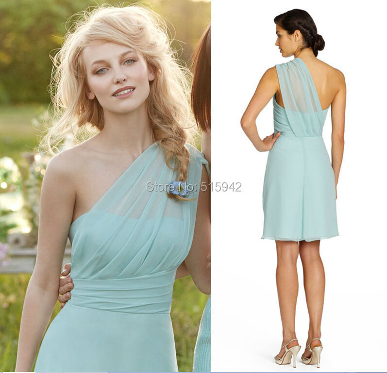 Dresses above knee one shoulder mint green wedding party dress