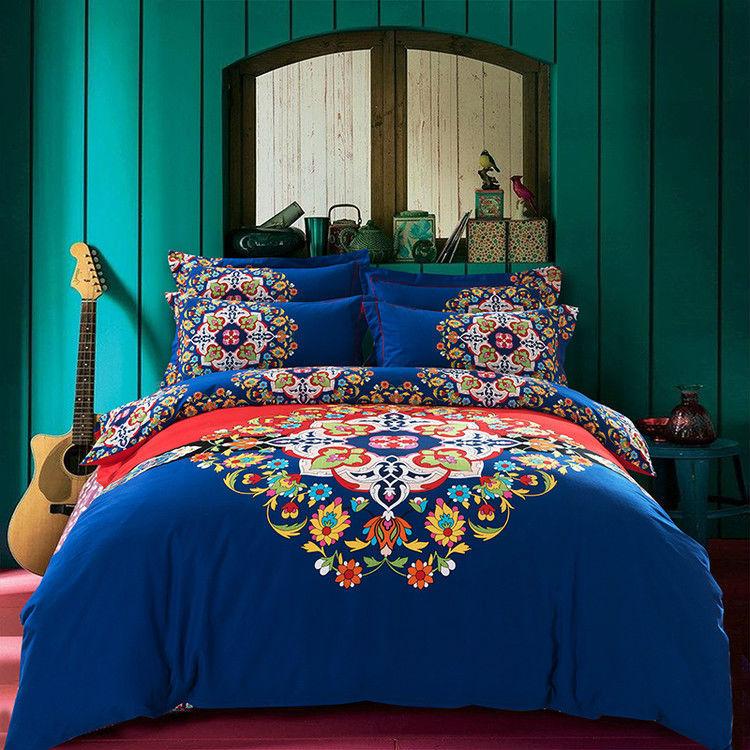 boho blue bedding set queen king size,thick brushed cotton comforter/quilt/duvet case bedsheet pillowcases 4pc bed sets