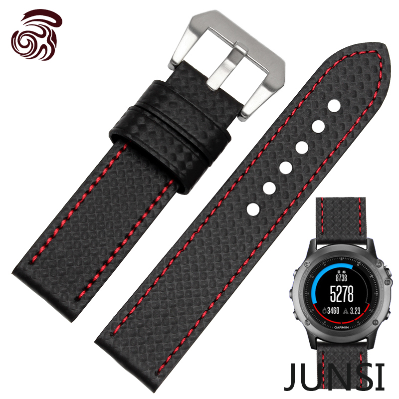 26mm Hot Sale Carbon Fiber Leather Watch band Fashion Black Watch accessories For Garmin Fenix 3 Watchband(China (Mainland))