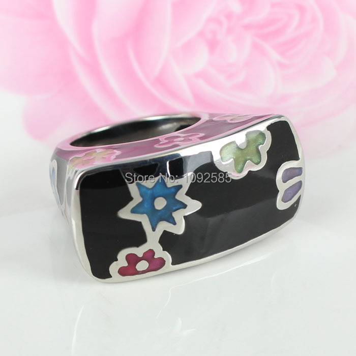 Fashion woman resin ring &HI-Q 316L stainless steel with Imported Enamel Jewelry ring(China (Mainland))