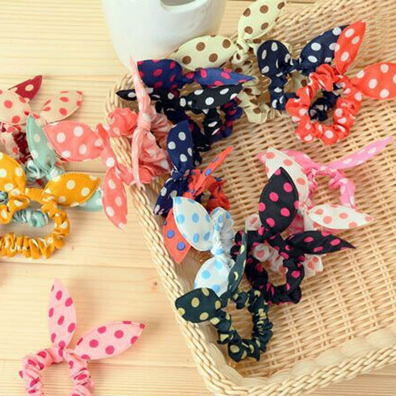 10 Pcs/lot Cute Bunny Baby Girl Flower Headbands Rabbit Ears Dot Headwear Elastic Hair Rope Summer AliExpress Explosion Models(China (Mainland))