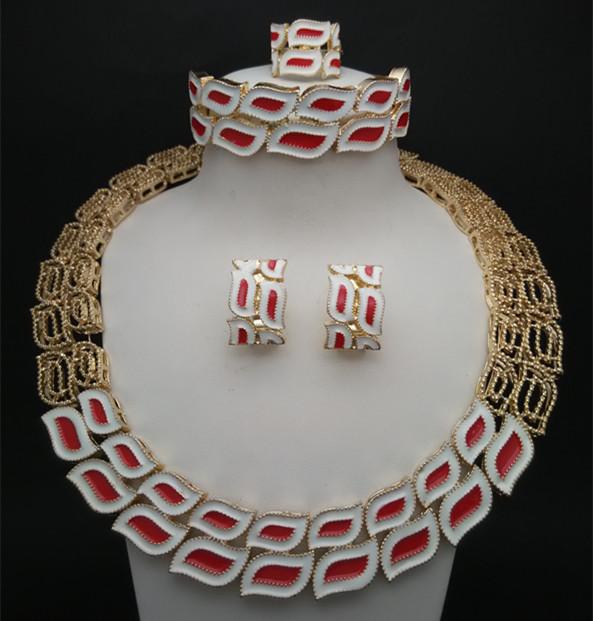 Q&P  High Quality Fashion 24K Gold Plated Elegant Wedding Bridal Dress Luxury Jewelry Set Necklace Earrings Bracelet Ring