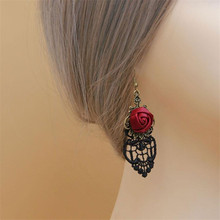 Vintage Gothic Rose Flower Drop Earrings For Women Ladies Black Lace Dangling Leverback Earring Christmas Jewelry Accessories(China (Mainland))