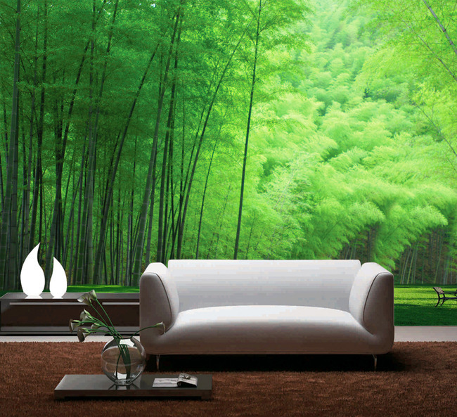 Modern fresh bamboo grove 3d wallpaper roll wall mural for Bamboo wall mural wallpaper