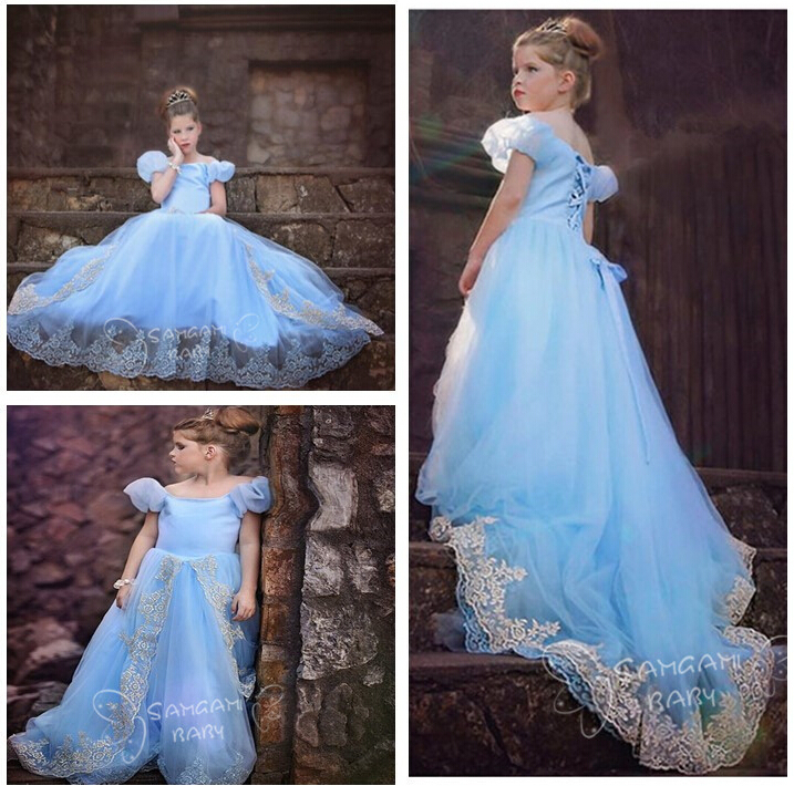 Retail 2015 new girls dress, fashion Elegant princess dress for baby girl animated cartoon elsa & anna dress children clothes(China (Mainland))