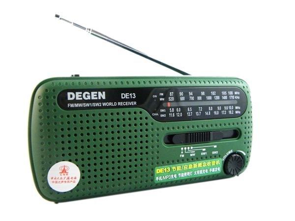 New Arrival DEGEN DE13 FM AM SW Crank Dynamo Solar Power Emergency Radio A0798A World Receiver(China (Mainland))