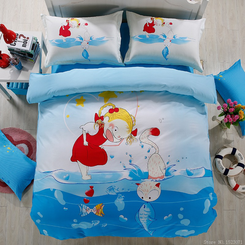 Girl kids cat and fish bedding sets cotton duvet cover queen teenage child bedding daybed bedding country side(China (Mainland))