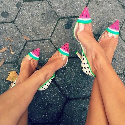 2016 New Design Cute Watermelon Dot Women Pumps High Heels Wedding Shoes Woman PVC Leather Women Shoes Zapatos Mujer<br><br>Aliexpress