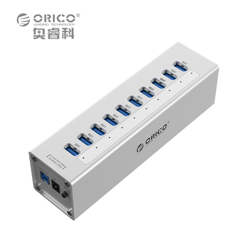 ORICO A3H10-SV Aluminum 10 Ports Multi USB3.0 HUB High Speed 5Gbps Splitter with 12V Power Adapter - Silver(China (Mainland))