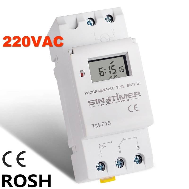 SINOTIMER Brand Electronic Weekly 7 Days Programmable Digital TIME SWITCH Relay Timer Control AC 220V 16A Din Rail Mount(China (Mainland))
