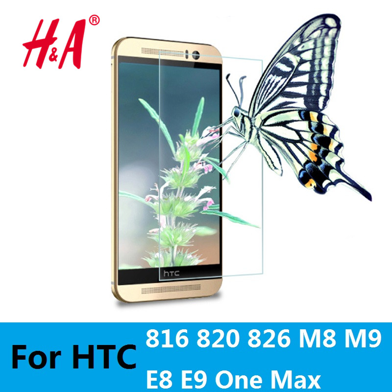 H&A 0.3mm 2.5D Premium Tempered Glass Screen Protector for HTC Desire 816 820 826 E8 E9 One M8 M9 One Max Protective Film(China (Mainland))