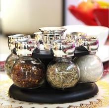 6pcs/set Ratary seasoning storage spice bottle rack kitchen salt and pepper cruet condiment set condimento containers for spices(China (Mainland))