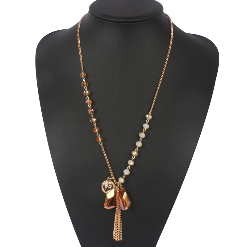 crystal pendant necklace new fashion statement gold plate chain bead women jewelry boho bohemian party collares mujer 2840(China (Mainland))