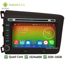 Quad Core WIFI Android 5.1.1 2Din DAB+ BT 8″ 1024*600 Car DVD Player Radio PC Audio Stereo Screen GPS For Honda CIVIC 2012 2013