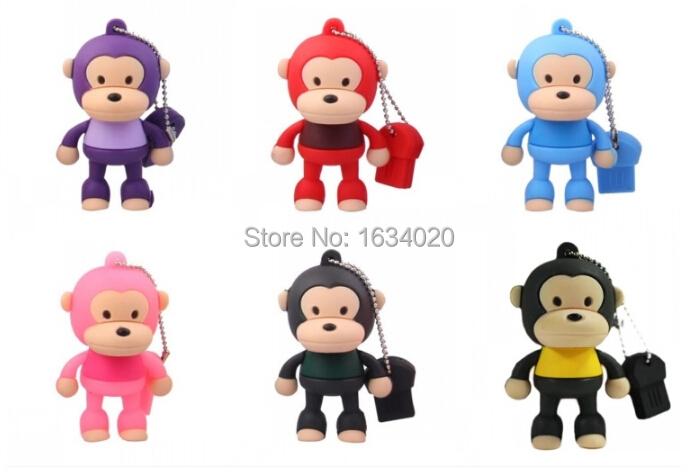 Lovely Monkey Rubber USB Flash Drives High Speed USB 2.0 External Pen drive 64GB 32GB 16GB 8GB Memory Card Creativo pendrive(China (Mainland))