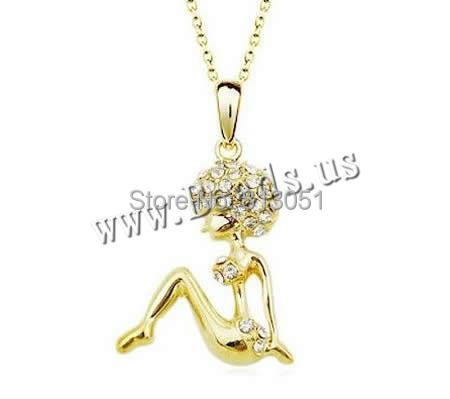 Free shipping!!!Zinc Alloy Jewelry Necklace,Lovely Design, with brass chain, Girl, plated, rolo chain &amp; with rhinestone<br><br>Aliexpress