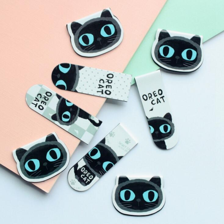 2 pcs/pack Cute Black Cat Magnet Bookmark Paper Clip School Office Supply Escolar Papelaria Gift Stationery(China (Mainland))