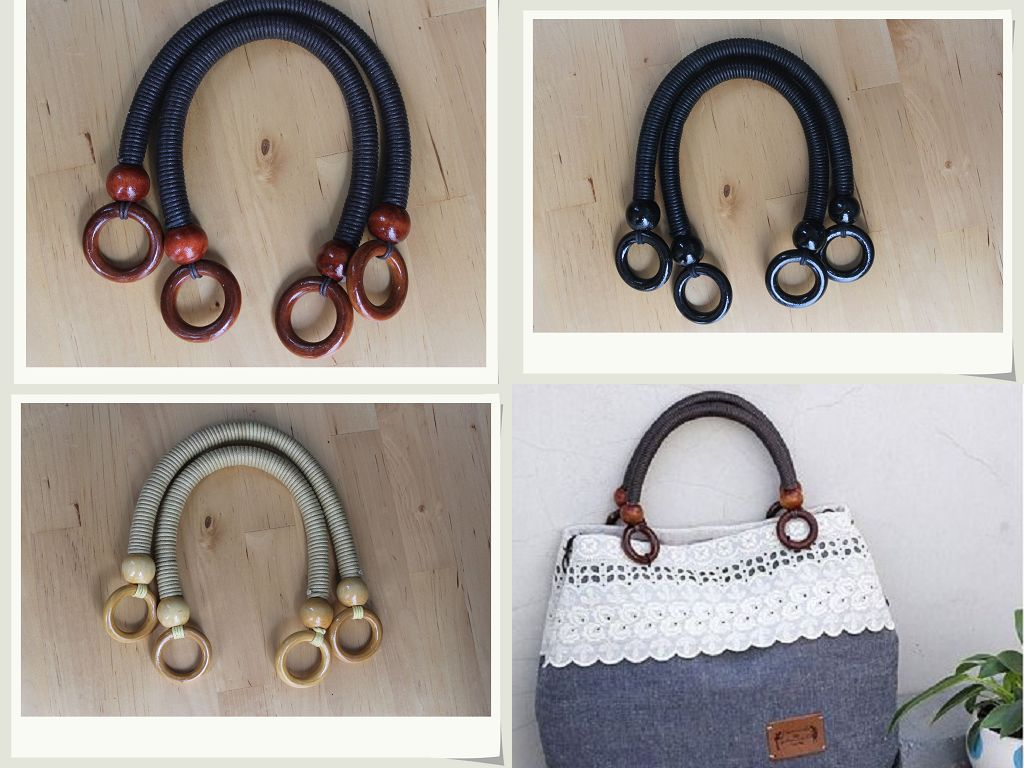 Free shipping Primaries single-circle black beads wooden handle fashion bag handle(China (Mainland))