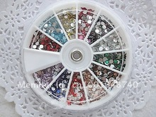 Nail Art Rhinestones decoration 3D Wheel 12 Mix Color Glitter Gems Design stone Round Bling Crystal sticker tools Fashion(China (Mainland))