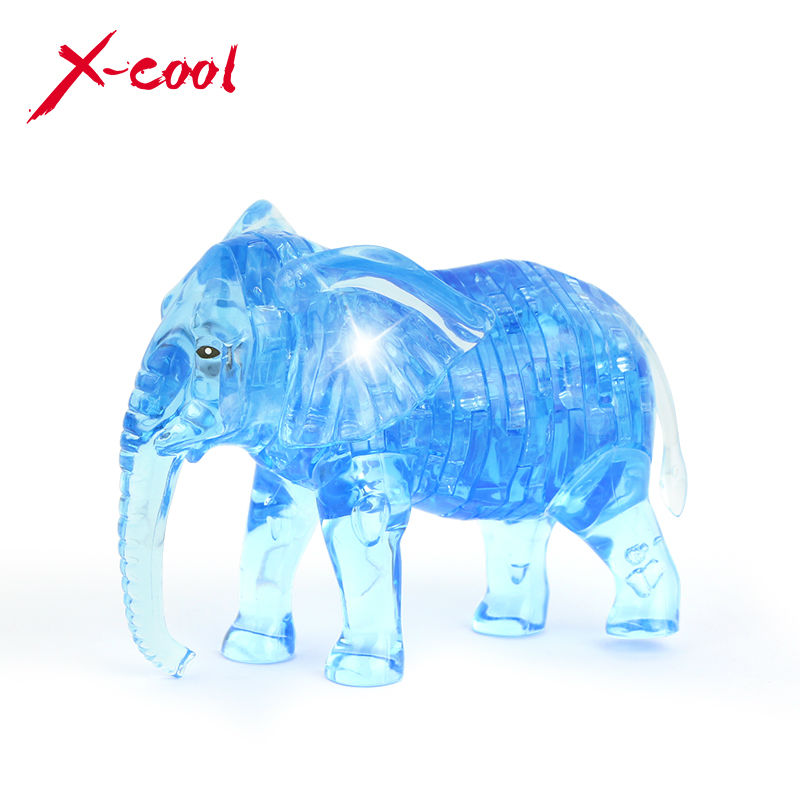 41pcs elephant puzzle 3D crystal puzzles animal assembled model DIY birthday gift toys for kids XC9058(China (Mainland))