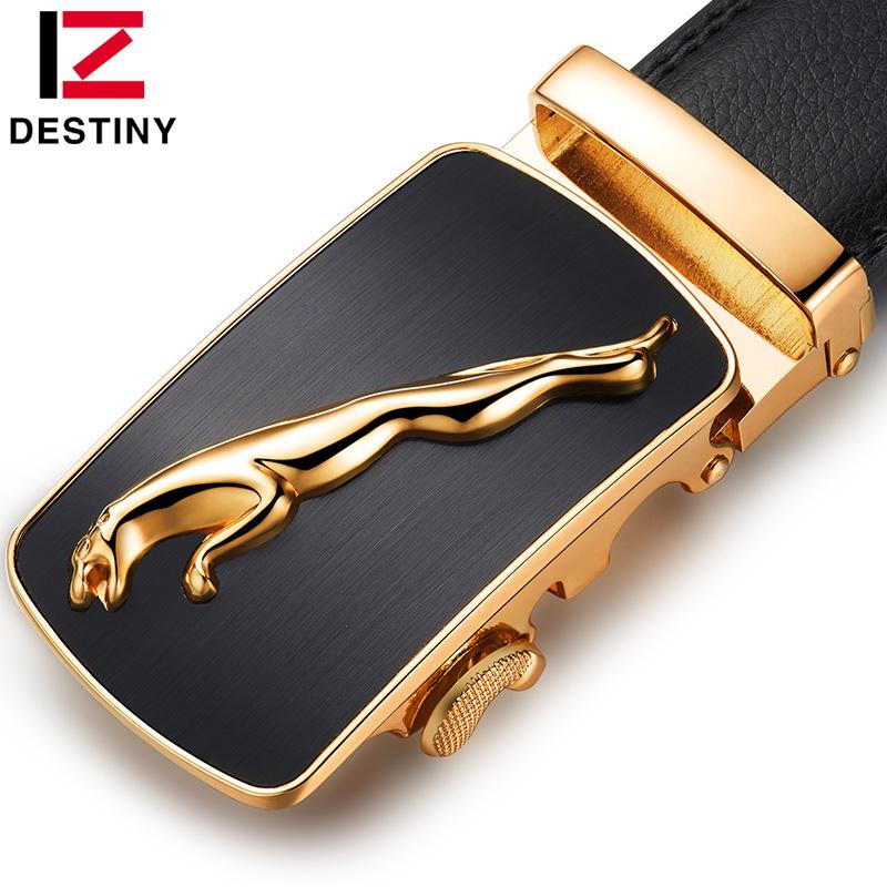 DESTINY leather belt men luxury brand design high automatic buckle belts silver gold fashion Strap Male jeans cinto