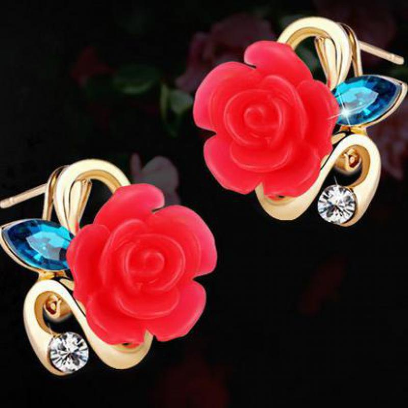 2016 New Fashion Classic Charm 18k Rose Gold Flower Earrings Jewelry Women And Girls<br><br>Aliexpress