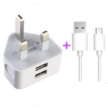 Original 2A Dual USB Mobile phone charger UK Plug Wall Charger +micro USB V8 data line cable for Samsung Xiaomi Nokia ZTE HTC