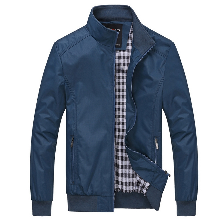 2015 New Arrival Spring And Autumn Men's Solid Fashion Jacket Male Casual Slim Fit Mandarin Collar Jacket 2 Colors M-4XL ZH0721(China (Mainland))