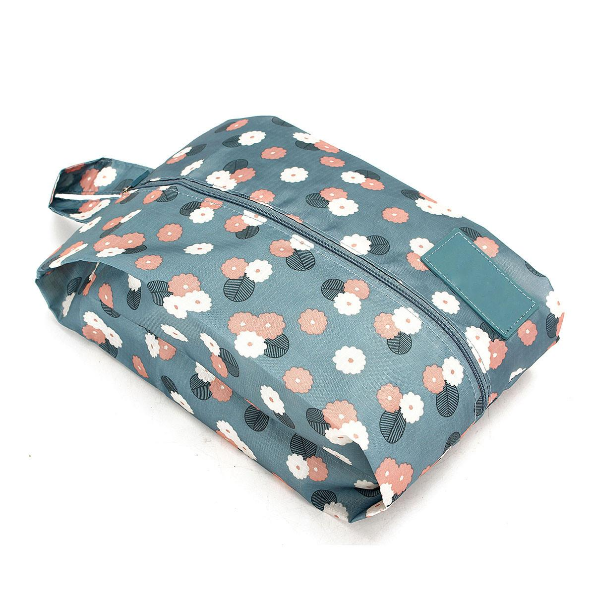 Print Travel Shoe Bag Organizer With Women Zipper Waterproof Foldable Toiletry Makeup Pouch Storage Bags(China (Mainland))