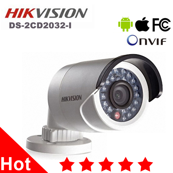 100% Original DS-2CD2032-I Hikvision IP Camera Outdoor 1080p Full HD 3MP Bullet Camera Security Network Night Vision Support POE(China (Mainland))