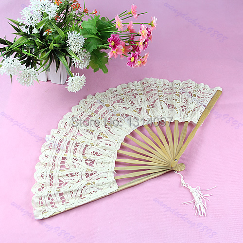 1 pc Optional Size Color Lace Hand Fan For Bridal Wedding Decoration New(China (Mainland))