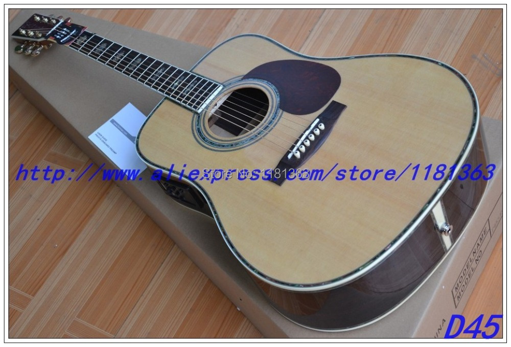 Hot sell Chinese OEM 45s Acoustic Guitar Spruce Solid wood top with fishman Pickup Guitar Musical Instruments Free shipping(China (Mainland))