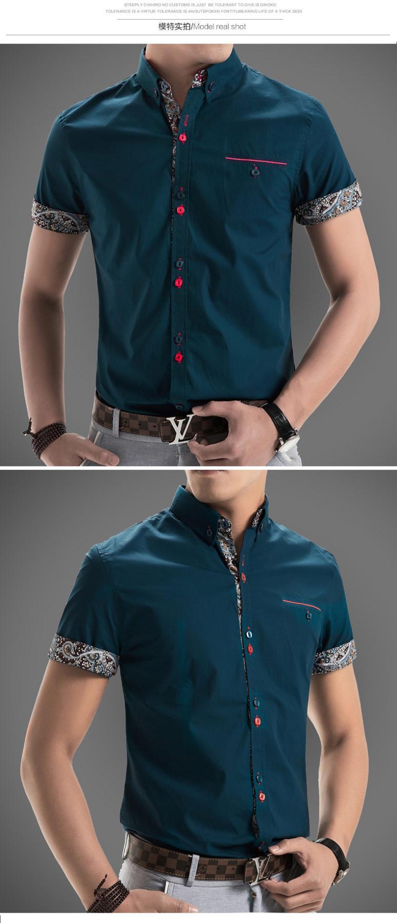 2015 Men Shirt New Brand Shirts Short Sleeve Casual Shirt Men Slim Fit Brand Design Formal Shirt Camisa Social Chemise Homme5