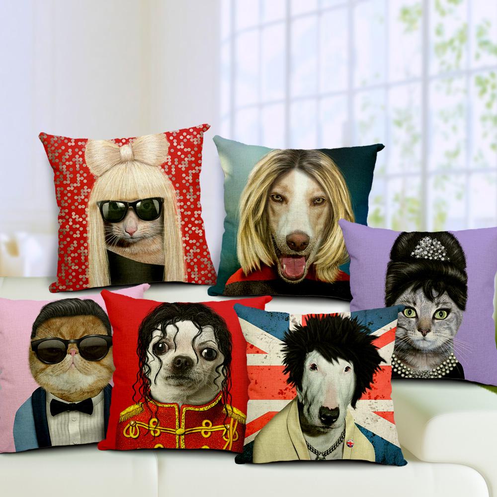 Customize Animal Star Cushion Cover Square Printed Linen Cotton Cushions Pop Star Similar Pets Printing(China (Mainland))