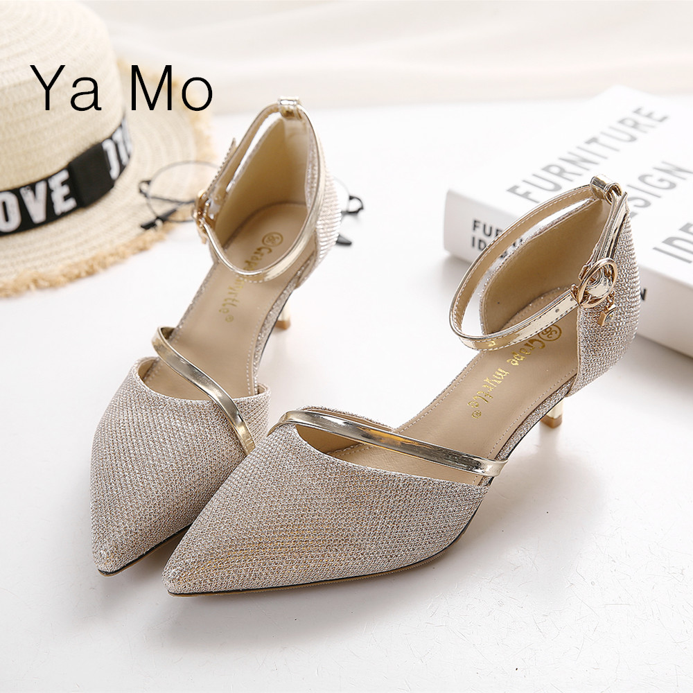 New fashion 2016 pointed toe pumps women silver stilettos heels shoes ankle tie low heel pumps gold wedding shoes(China (Mainland))