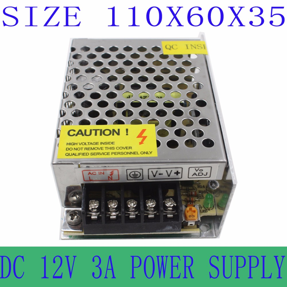 Iron-clad 12V 3A 36W Transfrom ac dc Switching Power Supply Driver adapter Converter For LED Strip Light(China (Mainland))