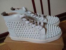 Genuine leather white spike red bottom men sneaker;  men red bottoms shoes for summer