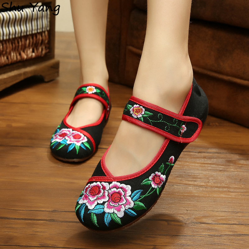 New Arrival 2015 Women's Shoes Old Peking Mary Jane Flat Heel Canvas Flats with Azalea Casual Shoes Plus Size 40(China (Mainland))