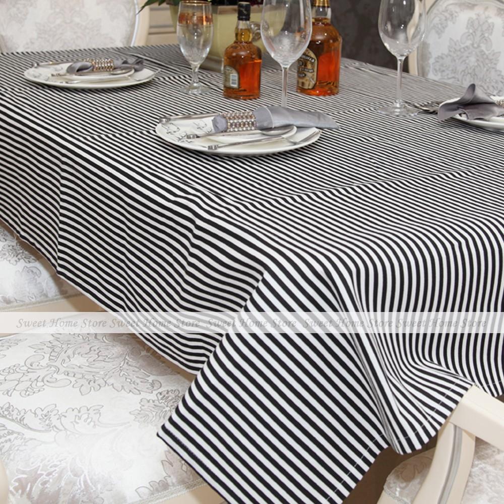 Vintage Black & White Sofia Stripes Dinner Tablecloth Table Cover 140x180cm(China (Mainland))