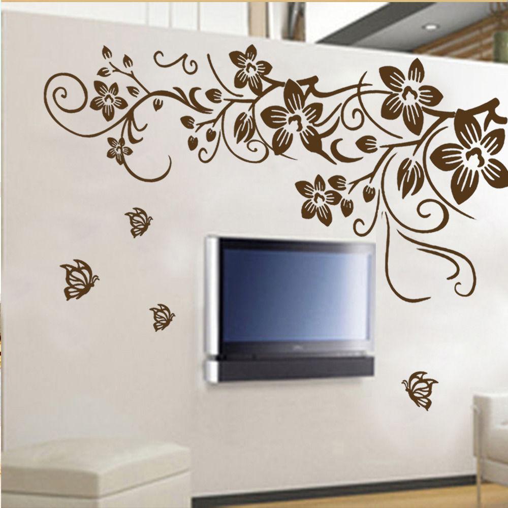 Removable Vinyl Wall Decor : Aliexpress buy a diy vine flower butterfly