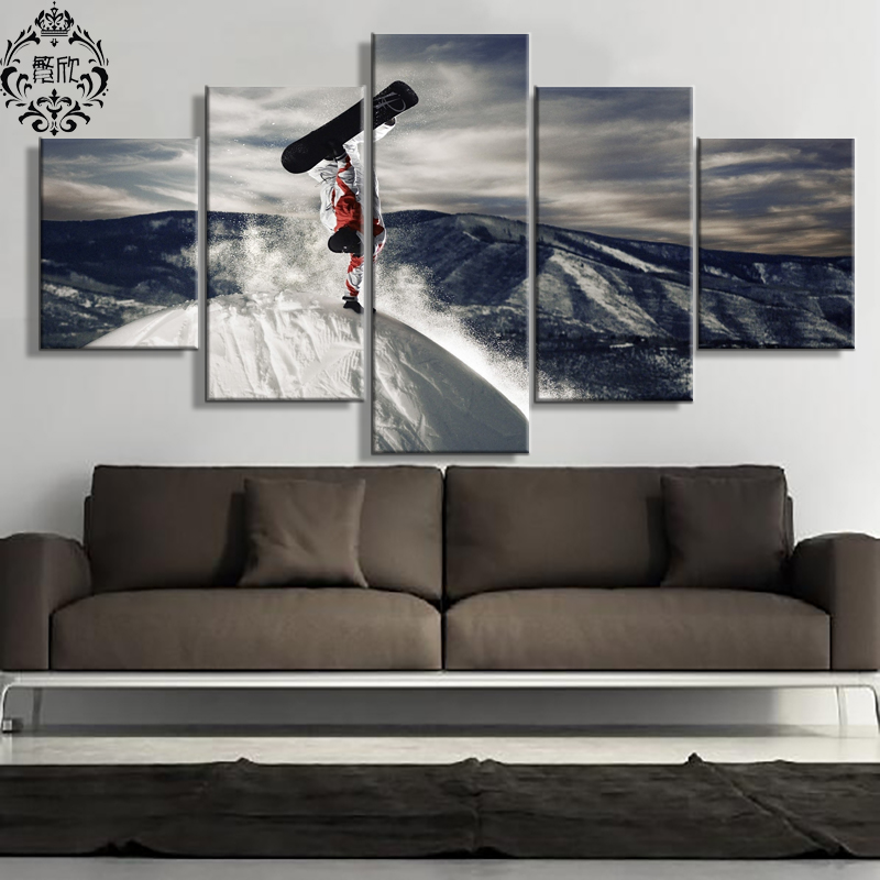 Wall Art Pictures Canvas Painting 5 Pieces Snowboarders Modern Modular Printed Poster Home Decor For Living Room Cuadros Artwork(China (Mainland))
