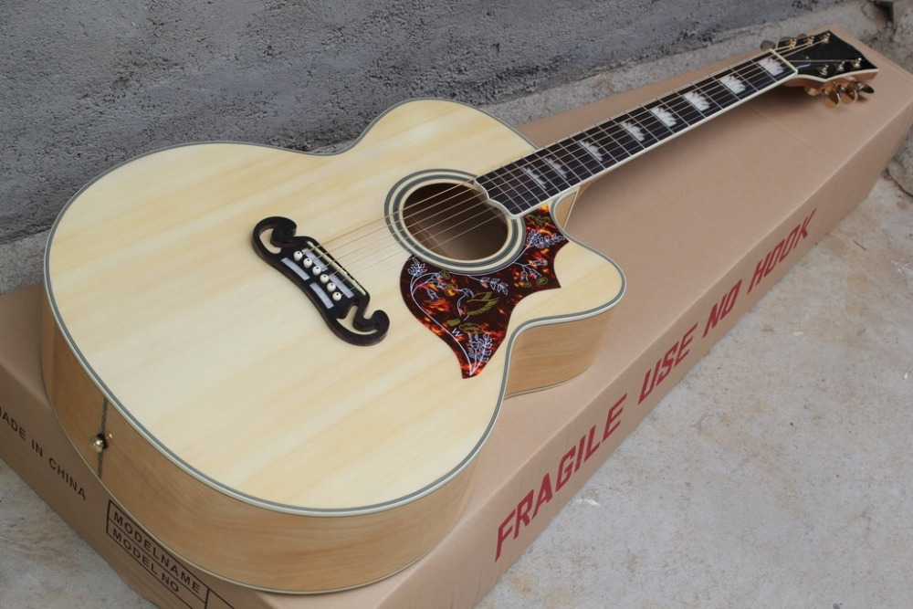 2016 New + Factory + CUSTOM J200 acoustic guitar Cutaway J200 electric acoustic guitar hummingbird pickguard Free Shipping SJ200(China (Mainland))
