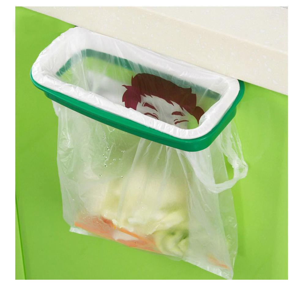 A Pair Rubbish storage rack Garbage pail Hanging kitchen cupboard door back Trash can Stand trash bag clip #KF(China (Mainland))