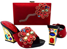 2017 Fashion Italian PU Materials Red Color Woman Shoes And Matching Bag Set Summer High Heel Shoes And Bag For Evening Party(China (Mainland))