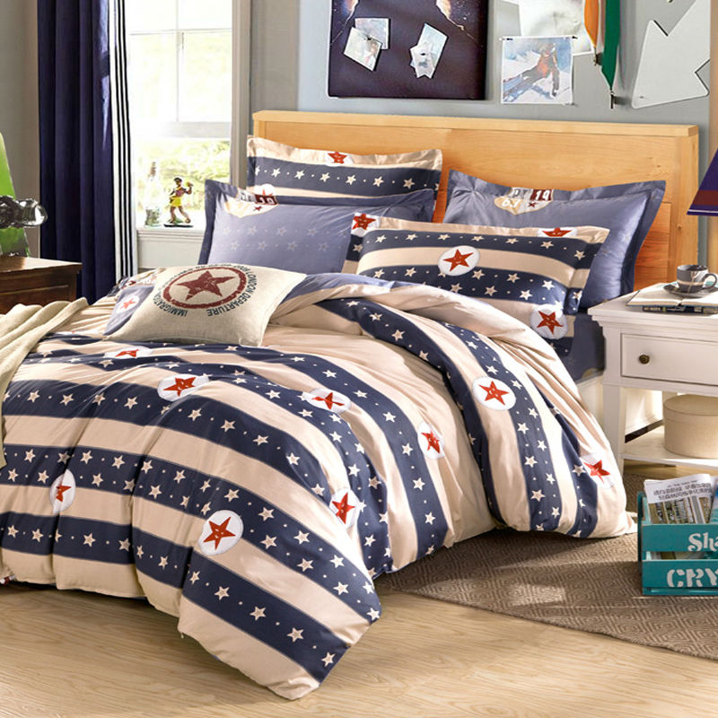 Stars boys cotton bedding kit twin full queen king size bedsheet sets fashion Brief style home Textile